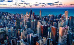 מבט מלמעלה של הבניינים במישיגן
